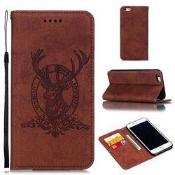 Retro Intricate Embossing Elk Seal Leather Wallet Case for iPhone 6s Plus / 6 Plus 6P(5.5 inch) - Brown