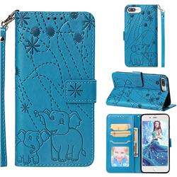 Embossing Fireworks Elephant Leather Wallet Case for iPhone 6s Plus / 6 Plus 6P(5.5 inch) - Blue