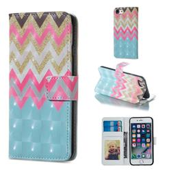 Color Wave 3D Painted Leather Phone Wallet Case for iPhone 6s Plus / 6 Plus 6P(5.5 inch)