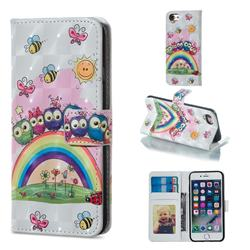 Rainbow Owl Family 3D Painted Leather Phone Wallet Case for iPhone 6s Plus / 6 Plus 6P(5.5 inch)