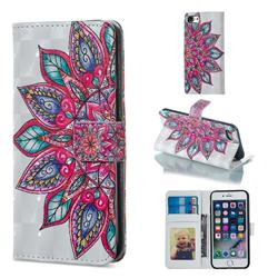 Mandara Flower 3D Painted Leather Phone Wallet Case for iPhone 6s Plus / 6 Plus 6P(5.5 inch)