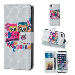 Couple Owl 3D Painted Leather Phone Wallet Case for iPhone 6s Plus / 6 Plus 6P(5.5 inch)
