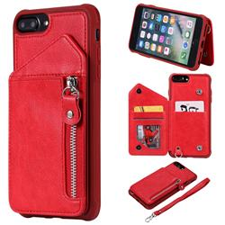 Classic Luxury Buckle Zipper Anti-fall Leather Phone Back Cover for iPhone 6s Plus / 6 Plus 6P(5.5 inch) - Red