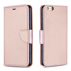 Classic Luxury Litchi Leather Phone Wallet Case for iPhone 6s Plus / 6 Plus 6P(5.5 inch) - Golden