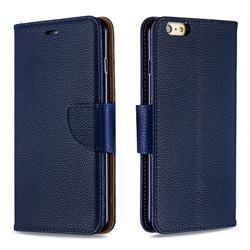 Classic Luxury Litchi Leather Phone Wallet Case for iPhone 6s Plus / 6 Plus 6P(5.5 inch) - Blue
