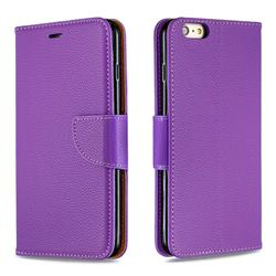 Classic Luxury Litchi Leather Phone Wallet Case for iPhone 6s Plus / 6 Plus 6P(5.5 inch) - Purple