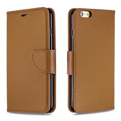 Classic Luxury Litchi Leather Phone Wallet Case for iPhone 6s Plus / 6 Plus 6P(5.5 inch) - Brown