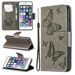 Embossing Double Butterfly Leather Wallet Case for iPhone 6s Plus / 6 Plus 6P(5.5 inch) - Gray
