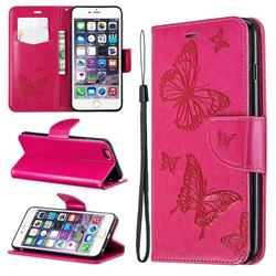 Embossing Double Butterfly Leather Wallet Case for iPhone 6s Plus / 6 Plus 6P(5.5 inch) - Red