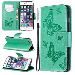 Embossing Double Butterfly Leather Wallet Case for iPhone 6s Plus / 6 Plus 6P(5.5 inch) - Green