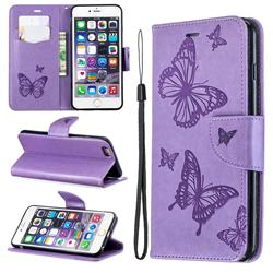 Embossing Double Butterfly Leather Wallet Case for iPhone 6s Plus / 6 Plus 6P(5.5 inch) - Purple