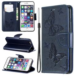 Embossing Double Butterfly Leather Wallet Case for iPhone 6s Plus / 6 Plus 6P(5.5 inch) - Dark Blue