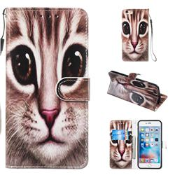 Coffe Cat Smooth Leather Phone Wallet Case for iPhone 6s Plus / 6 Plus 6P(5.5 inch)