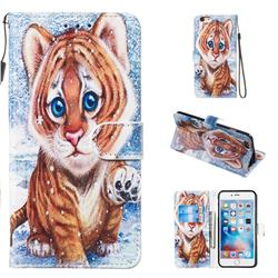 Baby Tiger Smooth Leather Phone Wallet Case for iPhone 6s Plus / 6 Plus 6P(5.5 inch)