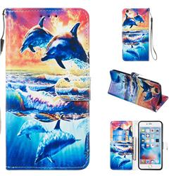 Couple Dolphin Smooth Leather Phone Wallet Case for iPhone 6s Plus / 6 Plus 6P(5.5 inch)