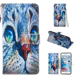 Blue Cat Smooth Leather Phone Wallet Case for iPhone 6s Plus / 6 Plus 6P(5.5 inch)