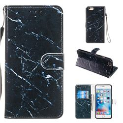 Black Marble Smooth Leather Phone Wallet Case for iPhone 6s Plus / 6 Plus 6P(5.5 inch)