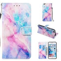 Blue Pink Marble Smooth Leather Phone Wallet Case for iPhone 6s Plus / 6 Plus 6P(5.5 inch)