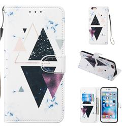 Triangle Marble Smooth Leather Phone Wallet Case for iPhone 6s Plus / 6 Plus 6P(5.5 inch)