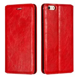 Retro Slim Magnetic Crazy Horse PU Leather Wallet Case for iPhone 6s Plus / 6 Plus 6P(5.5 inch) - Red