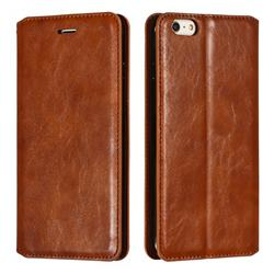 Retro Slim Magnetic Crazy Horse PU Leather Wallet Case for iPhone 6s Plus / 6 Plus 6P(5.5 inch) - Brown