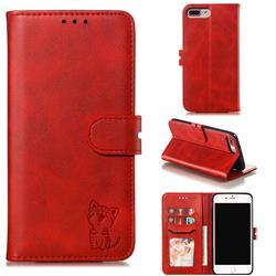 Embossing Happy Cat Leather Wallet Case for iPhone 6s Plus / 6 Plus 6P(5.5 inch) - Red