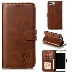 Embossing Happy Cat Leather Wallet Case for iPhone 6s Plus / 6 Plus 6P(5.5 inch) - Brown