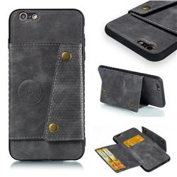 Retro Multifunction Card Slots Stand Leather Coated Phone Back Cover for iPhone 6s Plus / 6 Plus 6P(5.5 inch) - Gray