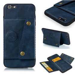 Retro Multifunction Card Slots Stand Leather Coated Phone Back Cover for iPhone 6s Plus / 6 Plus 6P(5.5 inch) - Blue