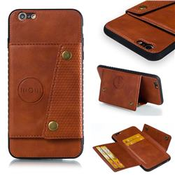 Retro Multifunction Card Slots Stand Leather Coated Phone Back Cover for iPhone 6s Plus / 6 Plus 6P(5.5 inch) - Brown