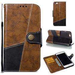 Retro Magnetic Stitching Wallet Flip Cover for iPhone 6s Plus / 6 Plus 6P(5.5 inch) - Brown