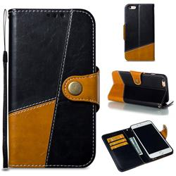 Retro Magnetic Stitching Wallet Flip Cover for iPhone 6s Plus / 6 Plus 6P(5.5 inch) - Black