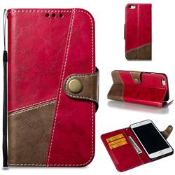 Retro Magnetic Stitching Wallet Flip Cover for iPhone 6s Plus / 6 Plus 6P(5.5 inch) - Rose Red