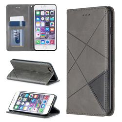 Prismatic Slim Magnetic Sucking Stitching Wallet Flip Cover for iPhone 6s Plus / 6 Plus 6P(5.5 inch) - Gray
