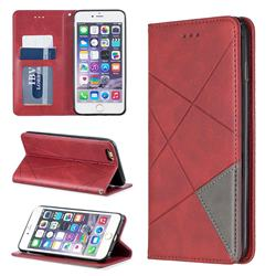 Prismatic Slim Magnetic Sucking Stitching Wallet Flip Cover for iPhone 6s Plus / 6 Plus 6P(5.5 inch) - Red
