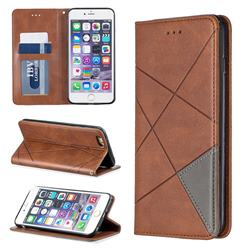 Prismatic Slim Magnetic Sucking Stitching Wallet Flip Cover for iPhone 6s Plus / 6 Plus 6P(5.5 inch) - Brown