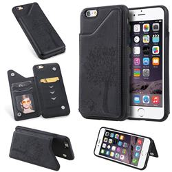 Luxury Tree and Cat Multifunction Magnetic Card Slots Stand Leather Phone Back Cover for iPhone 6s Plus / 6 Plus 6P(5.5 inch) - Black