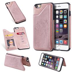 Luxury Tree and Cat Multifunction Magnetic Card Slots Stand Leather Phone Back Cover for iPhone 6s Plus / 6 Plus 6P(5.5 inch) - Rose Gold