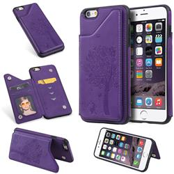 Luxury Tree and Cat Multifunction Magnetic Card Slots Stand Leather Phone Back Cover for iPhone 6s Plus / 6 Plus 6P(5.5 inch) - Purple