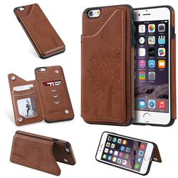 Luxury Tree and Cat Multifunction Magnetic Card Slots Stand Leather Phone Back Cover for iPhone 6s Plus / 6 Plus 6P(5.5 inch) - Brown
