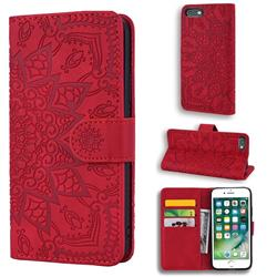 Retro Embossing Mandala Flower Leather Wallet Case for iPhone 6s Plus / 6 Plus 6P(5.5 inch) - Red