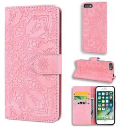 Retro Embossing Mandala Flower Leather Wallet Case for iPhone 6s Plus / 6 Plus 6P(5.5 inch) - Pink