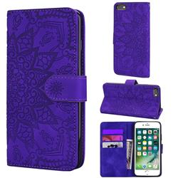 Retro Embossing Mandala Flower Leather Wallet Case for iPhone 6s Plus / 6 Plus 6P(5.5 inch) - Purple