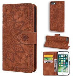 Retro Embossing Mandala Flower Leather Wallet Case for iPhone 6s Plus / 6 Plus 6P(5.5 inch) - Brown
