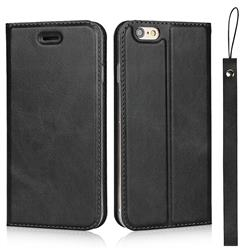 Calf Pattern Magnetic Automatic Suction Leather Wallet Case for iPhone 6s Plus / 6 Plus 6P(5.5 inch) - Black