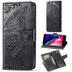 Embossing Mandala Flower Butterfly Leather Wallet Case for iPhone 6s Plus / 6 Plus 6P(5.5 inch) - Black