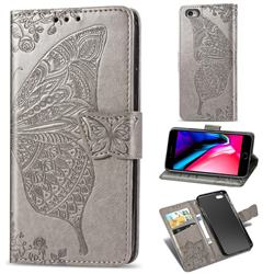 Embossing Mandala Flower Butterfly Leather Wallet Case for iPhone 6s Plus / 6 Plus 6P(5.5 inch) - Gray