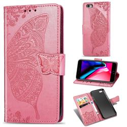 Embossing Mandala Flower Butterfly Leather Wallet Case for iPhone 6s Plus / 6 Plus 6P(5.5 inch) - Pink