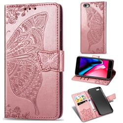 Embossing Mandala Flower Butterfly Leather Wallet Case for iPhone 6s Plus / 6 Plus 6P(5.5 inch) - Rose Gold