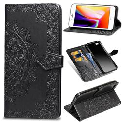 Embossing Imprint Mandala Flower Leather Wallet Case for iPhone 6s Plus / 6 Plus 6P(5.5 inch) - Black